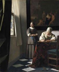 Lady writing a letter with her maid by Johannes Vermeer
